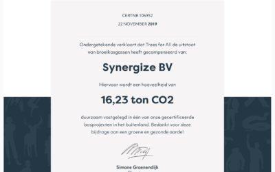 Synergize compenseert al haar zakelijke kilometers in 2019 (en verder)